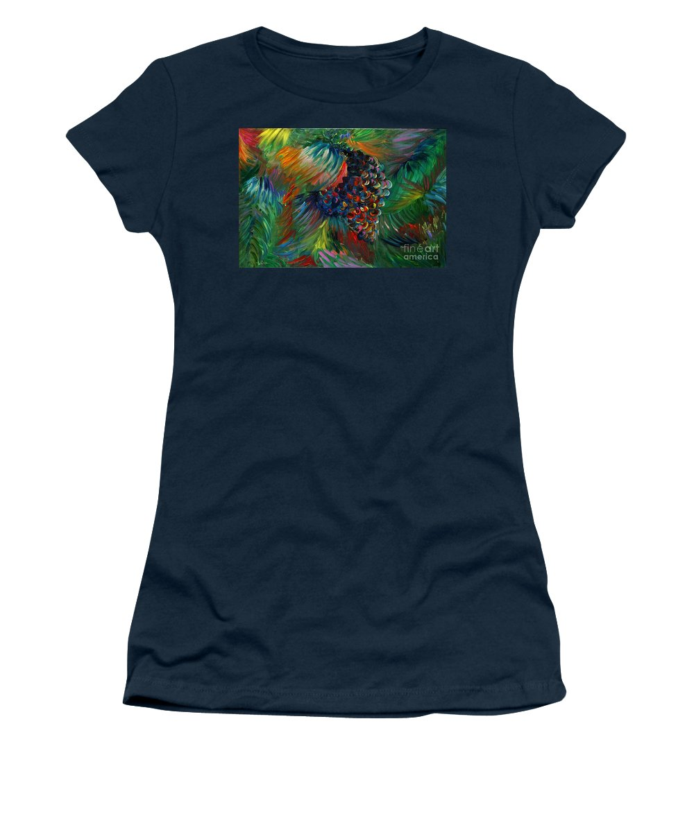 Grapes Women's T-Shirt (Athletic Fit) featuring the painting Vibrant Grapes by Nadine Rippelmeyer
