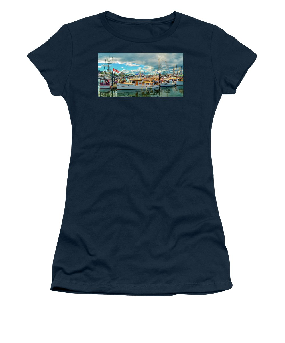 Boats Women's T-Shirt featuring the photograph Victoria Harbor old boats by Jason Brooks