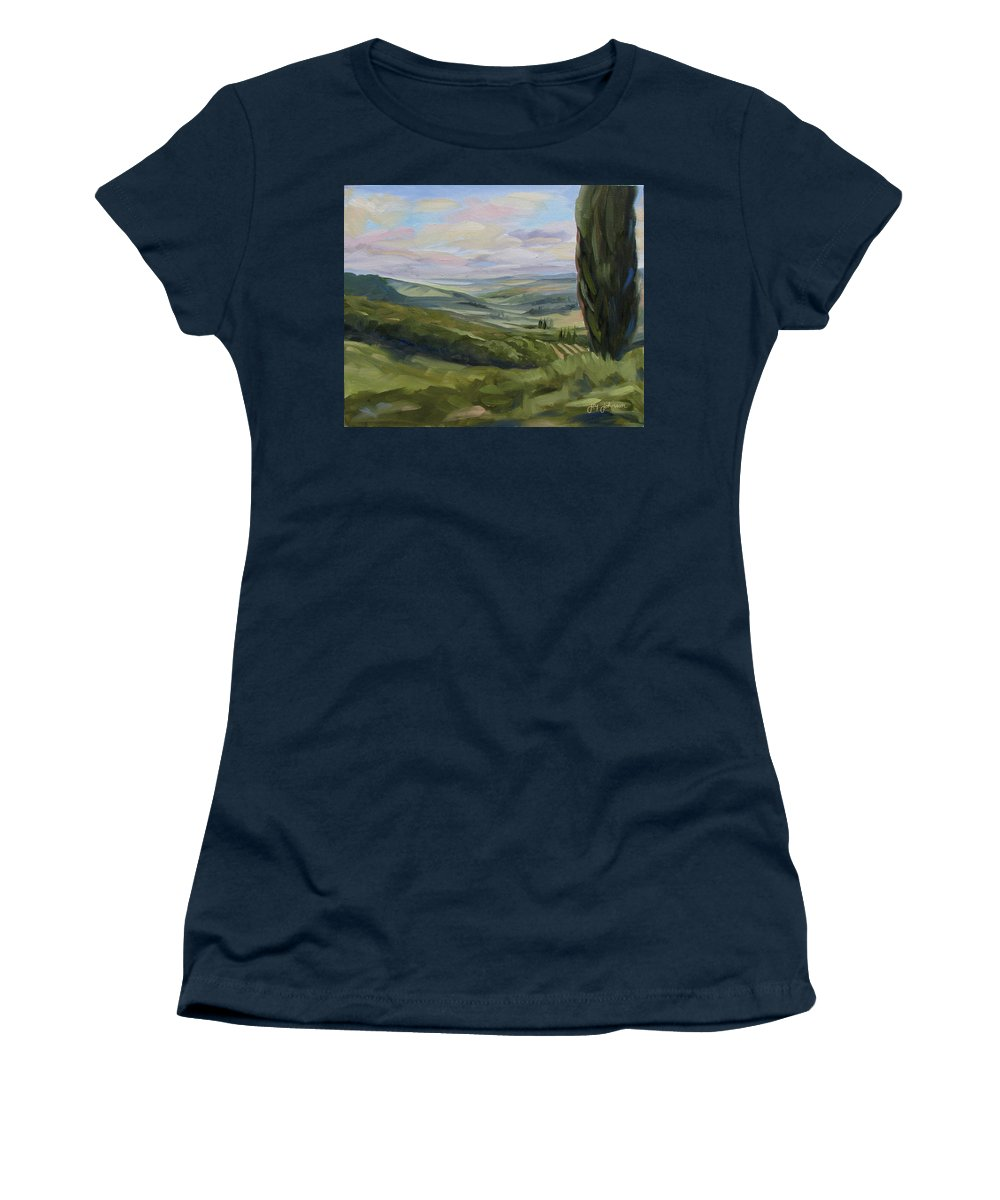 Landscape Women's T-Shirt featuring the painting View from Sienna by Jay Johnson