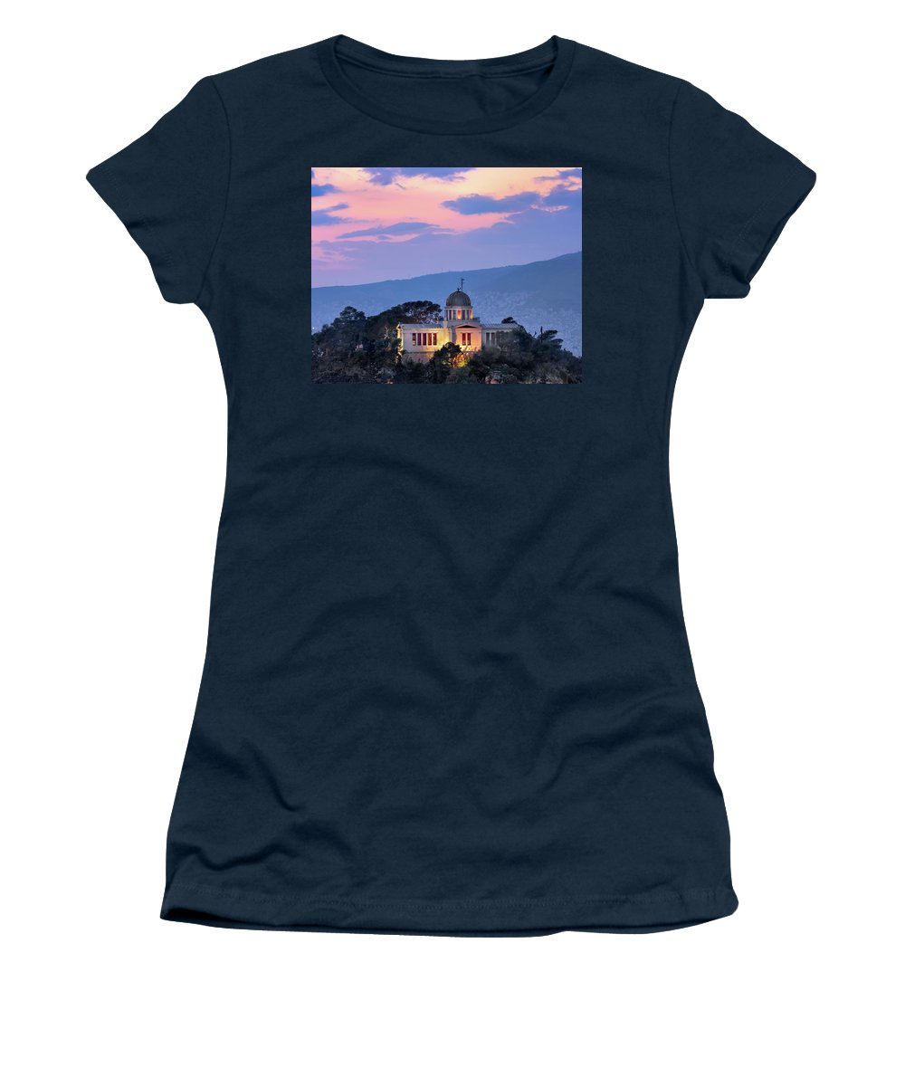 Architecture Women's T-Shirt (Athletic Fit) featuring the photograph View Of National Observatory Of Athens In The Evening, Athens, G by Andrey Omelyanchuk