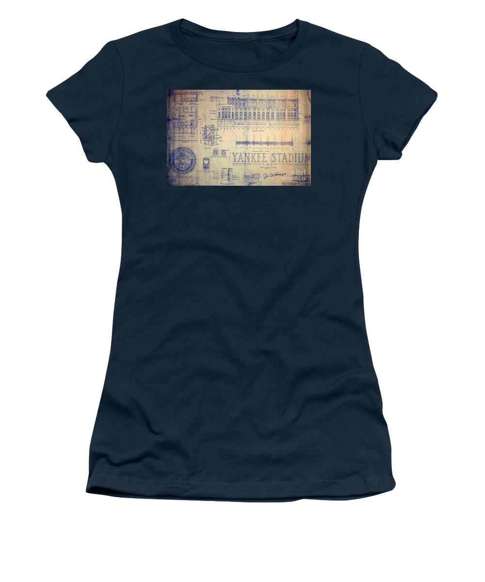 Joe Dimaggio Women's T-Shirt featuring the drawing Vintage Yankee Stadium Blueprint by Peter Ogden Gallery