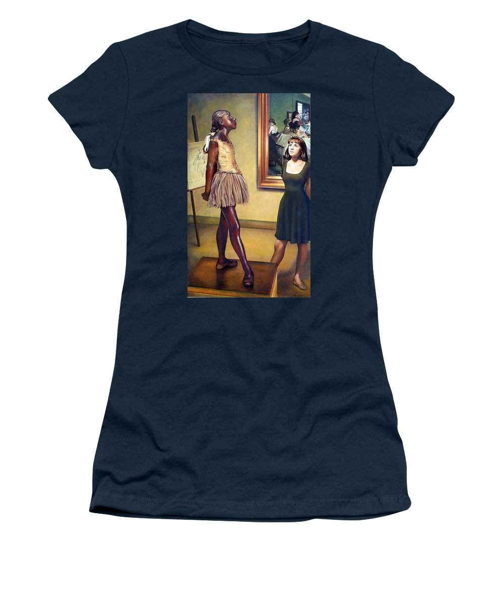 Edgar Degas Women's T-Shirt featuring the pastel Visit To The Museum by Patrick Anthony Pierson