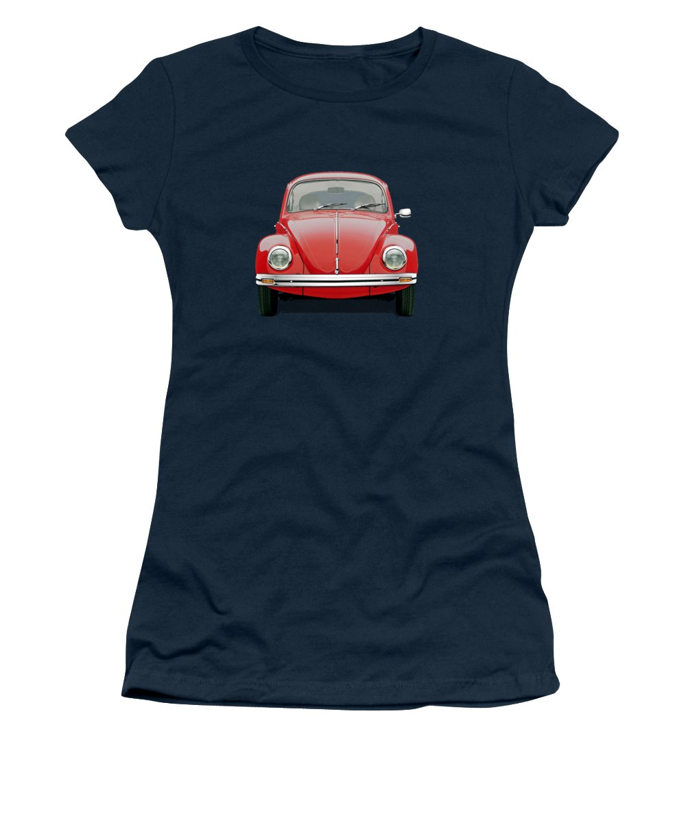 'volkswagen - Bugs And Buses' Collection By Serge Averbukh Women's T-Shirt featuring the digital art Volkswagen Type 1 - Red Volkswagen Beetle on Green Canvas by Serge Averbukh