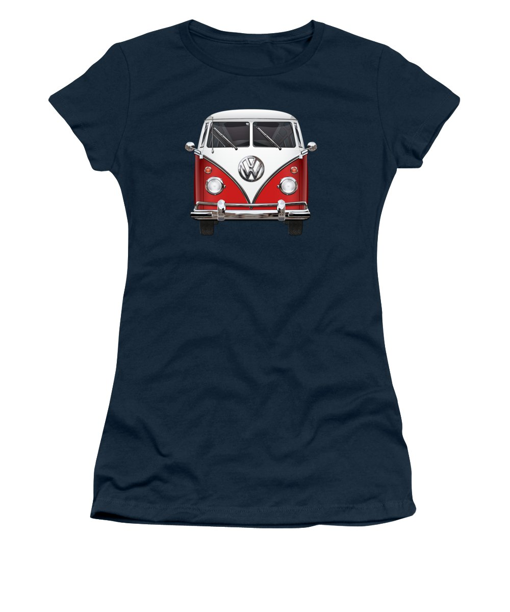 'volkswagen Type 2' Collection By Serge Averbukh Women's T-Shirt featuring the digital art Volkswagen Type 2 - Red and White Volkswagen T 1 Samba Bus over Green Canvas by Serge Averbukh