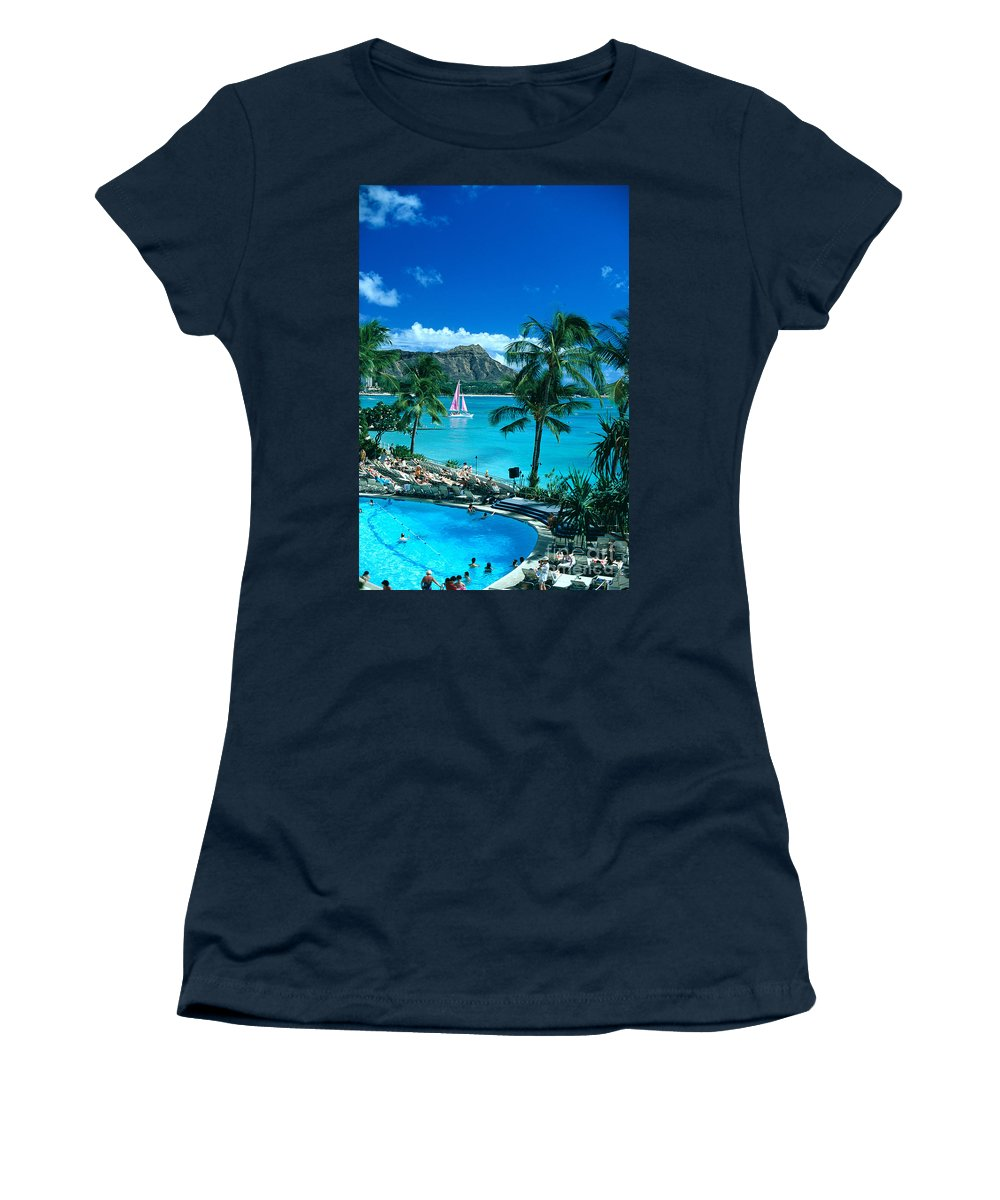 Above Women's T-Shirt featuring the photograph Waikiki And Sailboat by Tomas del Amo - Printscapes