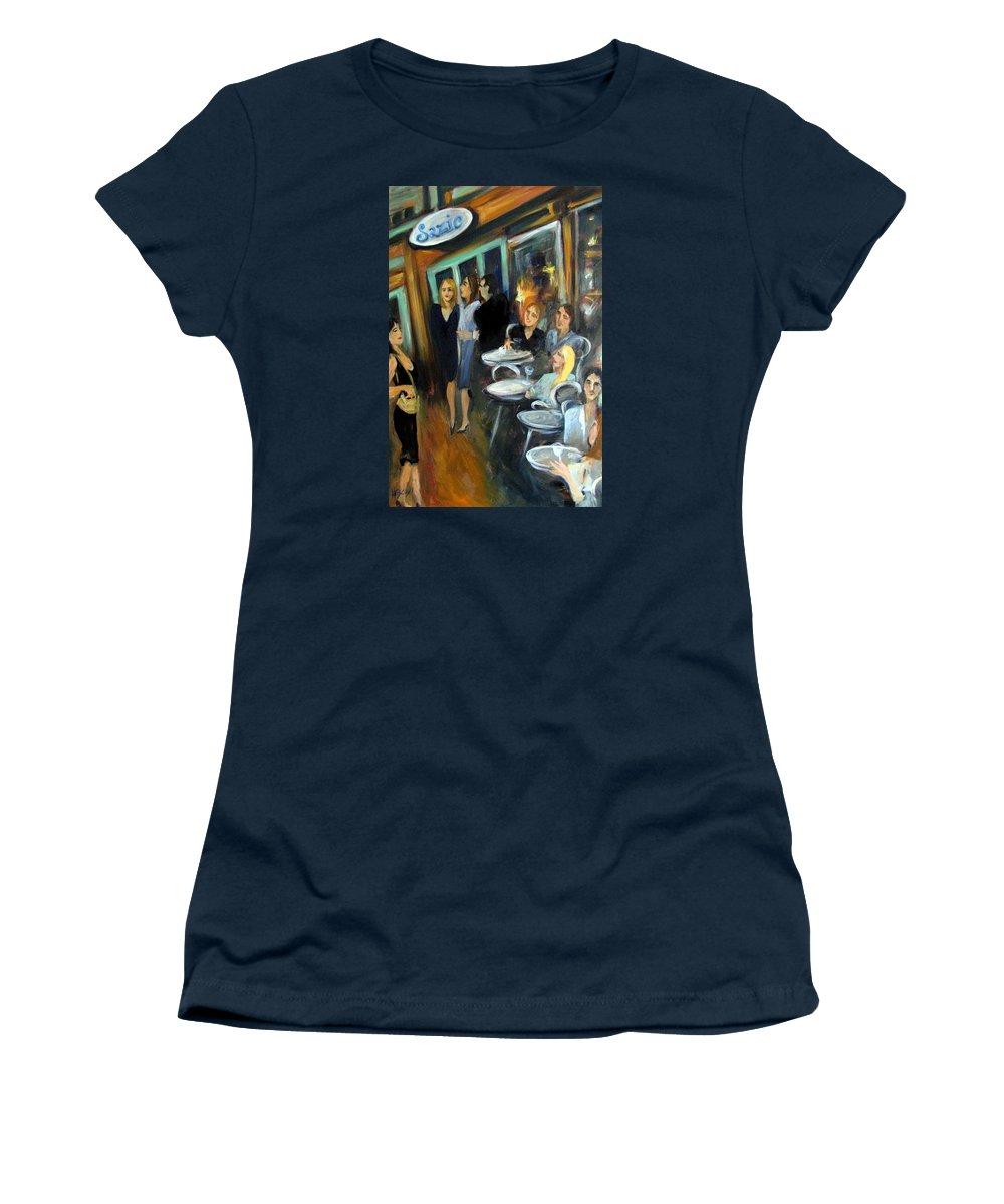 Sidewalk Cafe Women's T-Shirt (Athletic Fit) featuring the painting Waiting For A Table by Valerie Vescovi