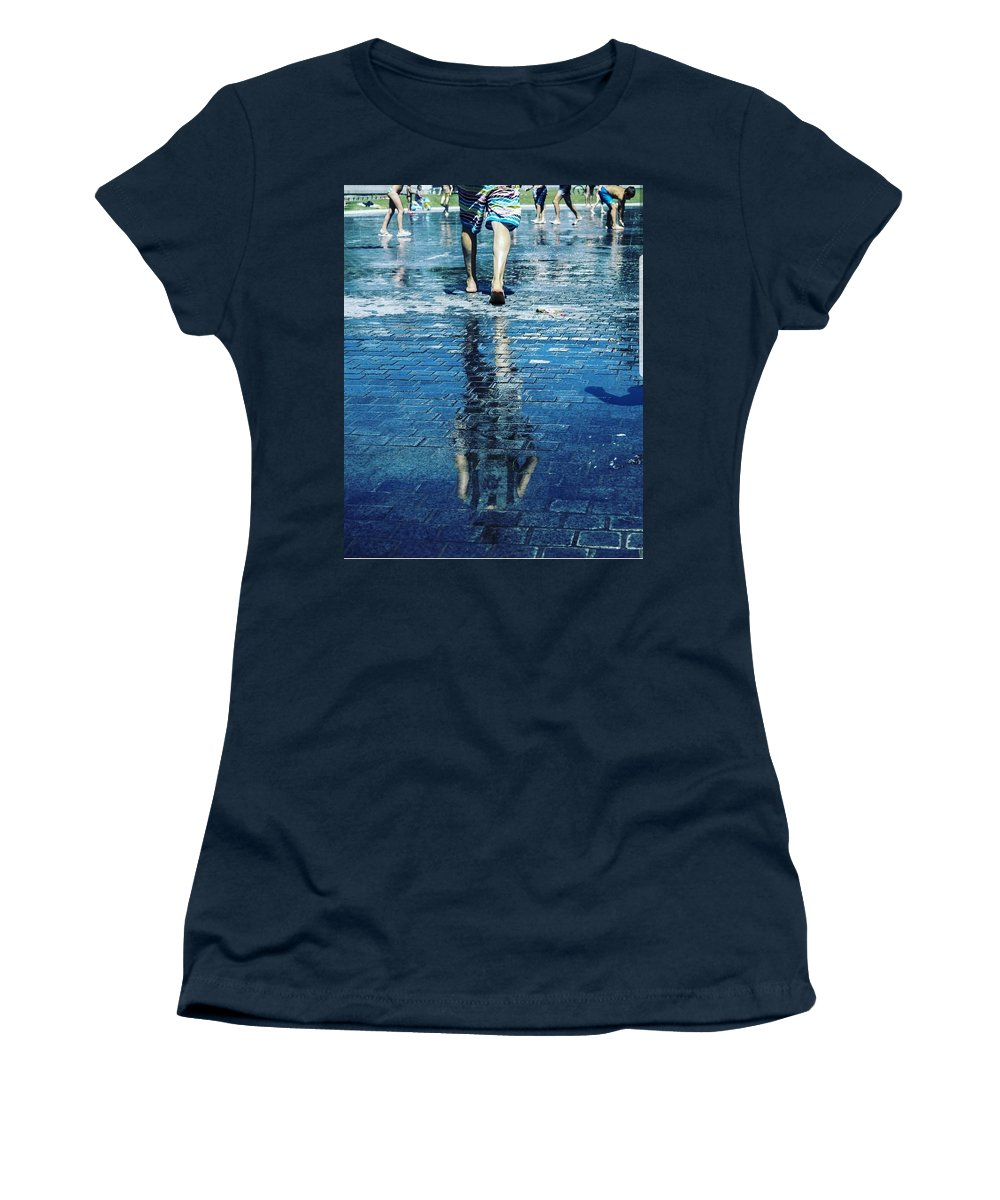 Man Women's T-Shirt featuring the photograph Walking on the water by Nerea Berdonces Albareda
