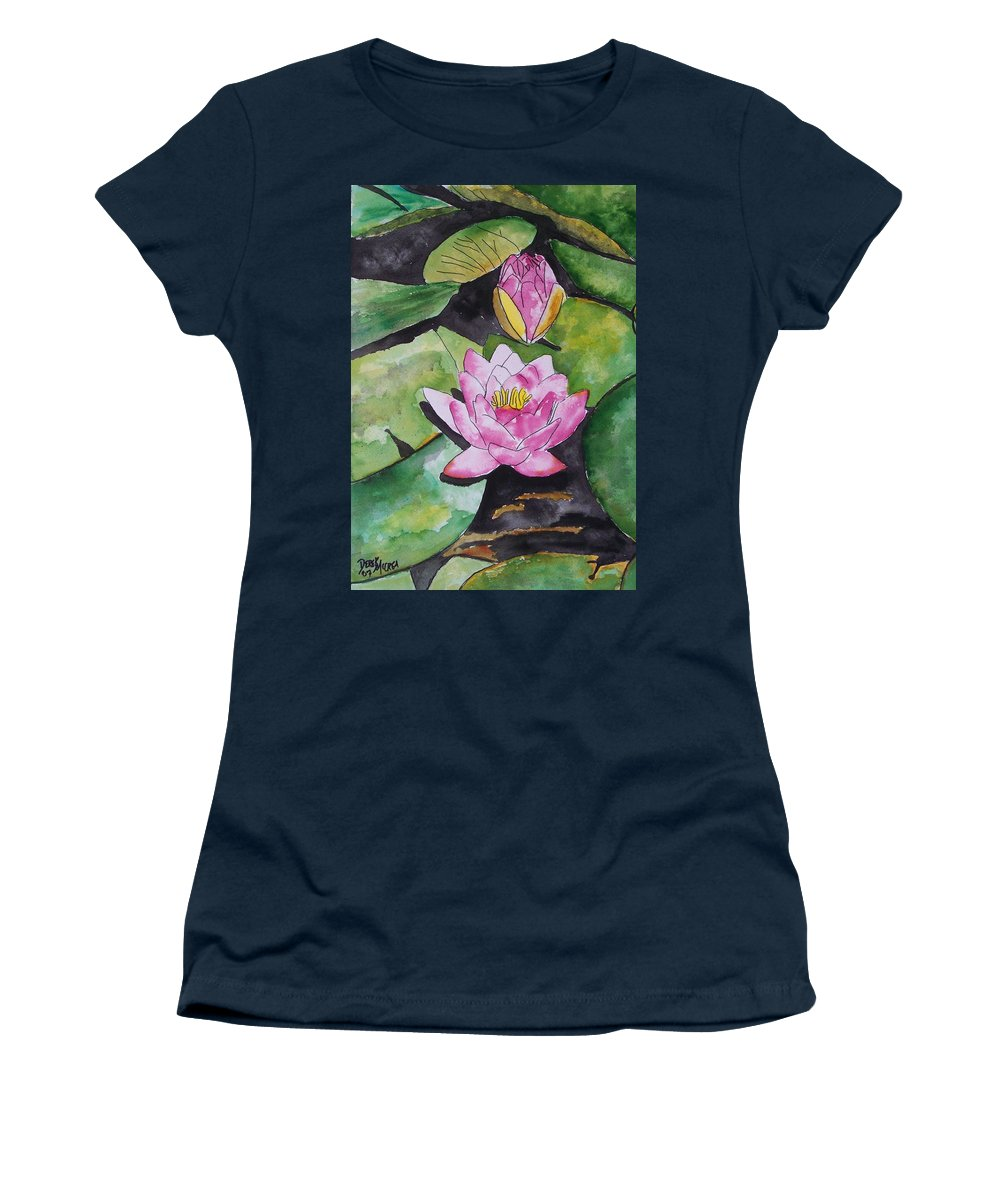 Water Lily Women's T-Shirt featuring the painting Water Lily by Derek Mccrea