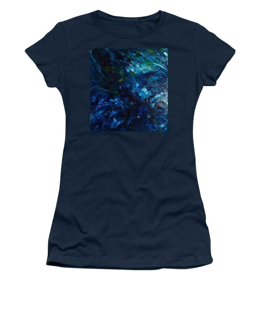 Water Women's T-Shirt (Athletic Fit) featuring the painting Water Reflections 1 by Nancy Mueller