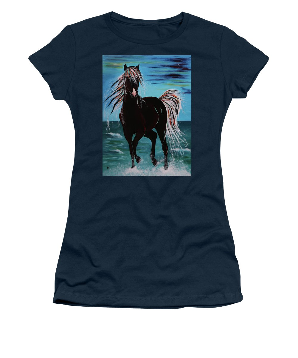 Horse Women's T-Shirt featuring the painting Waterhorse by Nicole Paquette