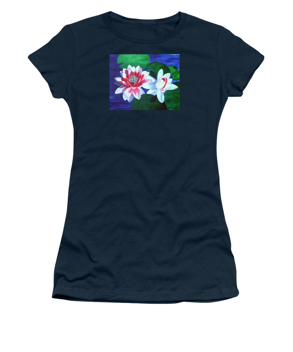 Water Lilies Women's T-Shirt featuring the painting Waterlily Dance by Brandy House