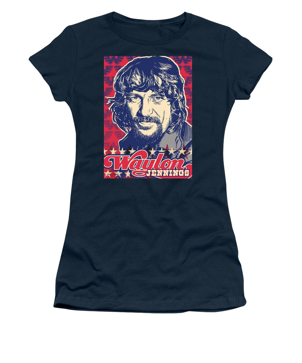 Outlaw Women's T-Shirt featuring the digital art Waylon Jennings Pop Art by Jim Zahniser