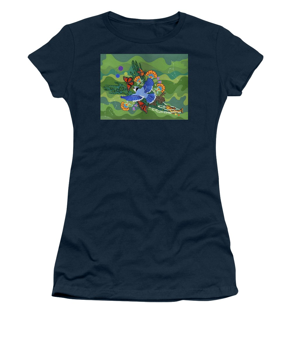 Water Women's T-Shirt featuring the painting We Are One by Chholing Taha