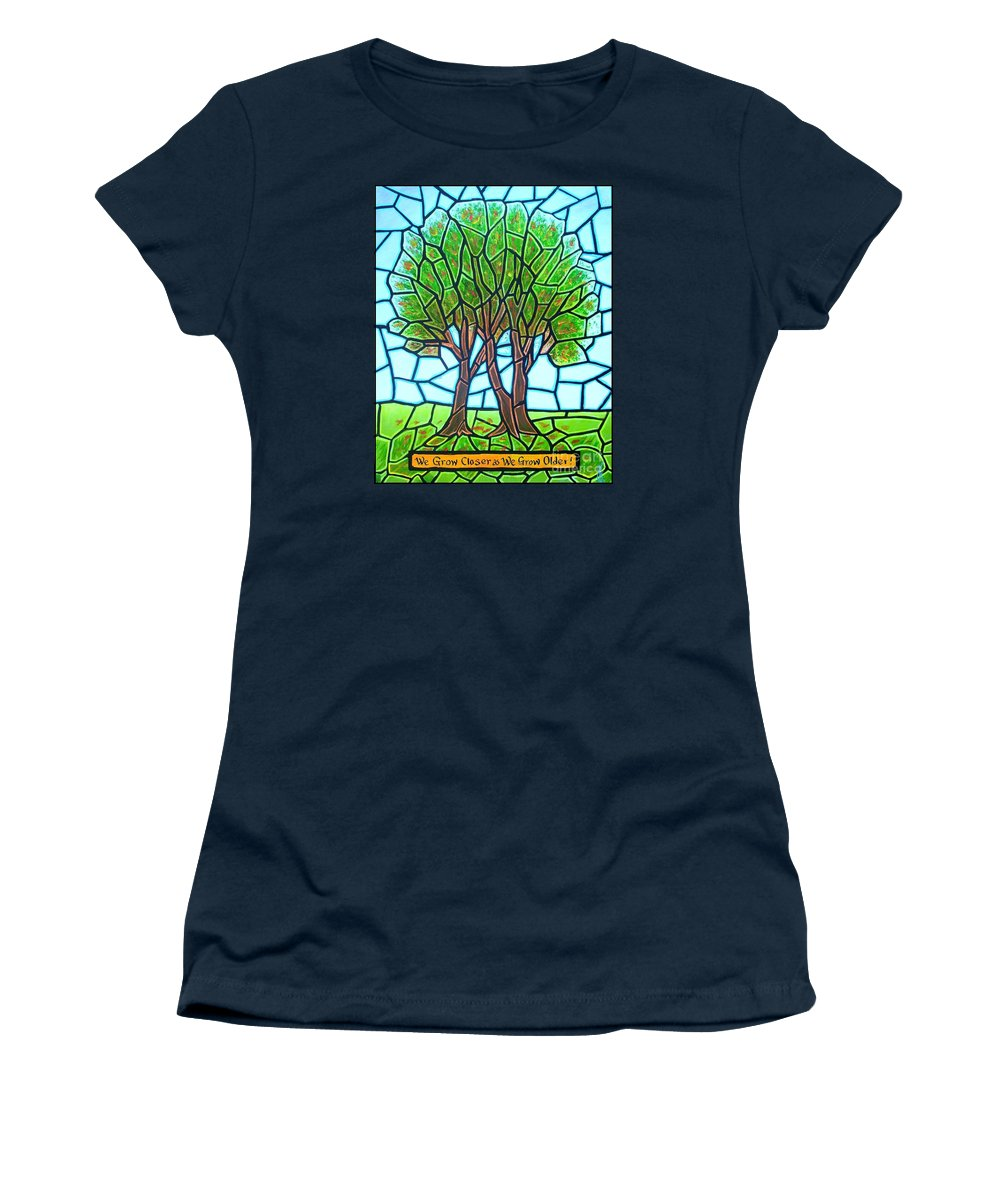 Aging Women's T-Shirt (Athletic Fit) featuring the painting We Grow Closer As We Grow Older by Jim Harris