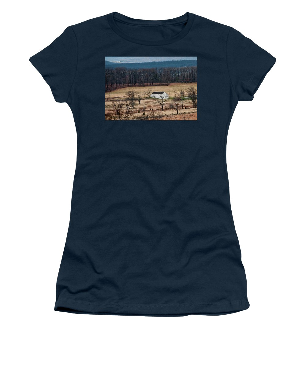 Landscape Women's T-Shirt featuring the photograph White Barn by David Arment