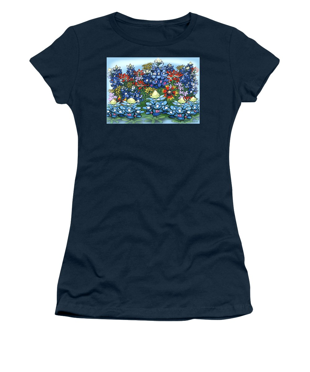 Wildflowers Women's T-Shirt (Athletic Fit) featuring the digital art Wildflowers by Kevin Middleton