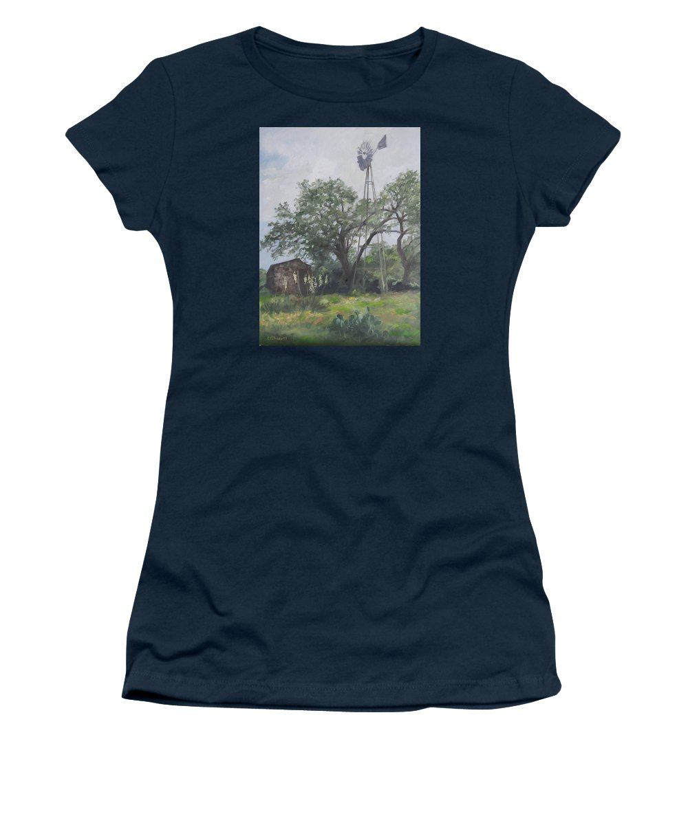 Texas Women's T-Shirt (Athletic Fit) featuring the painting Windmill At Genhaven by Connie Schaertl