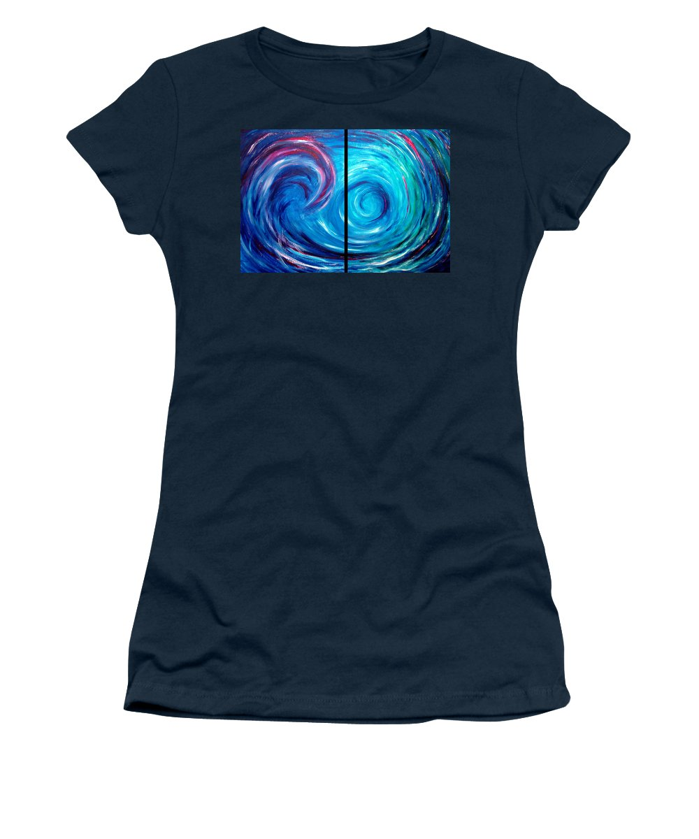 Blue Women's T-Shirt (Athletic Fit) featuring the painting Windswept Blue Wave And Whirlpool 2 by Nancy Mueller