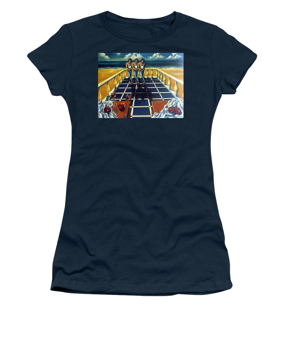 Surreal Women's T-Shirt (Athletic Fit) featuring the painting Wine And Pomegranites by Valerie Vescovi