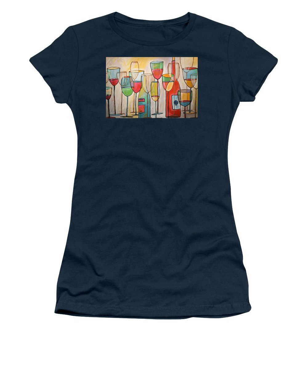 Wine Women's T-Shirt featuring the painting Wine Tasting by Amy Giacomelli