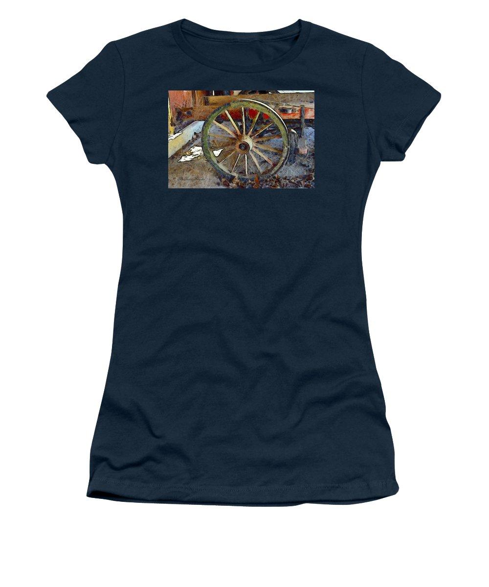 Barbara Snyder Women's T-Shirt featuring the digital art Wine Wagon Wheel by Barbara Snyder
