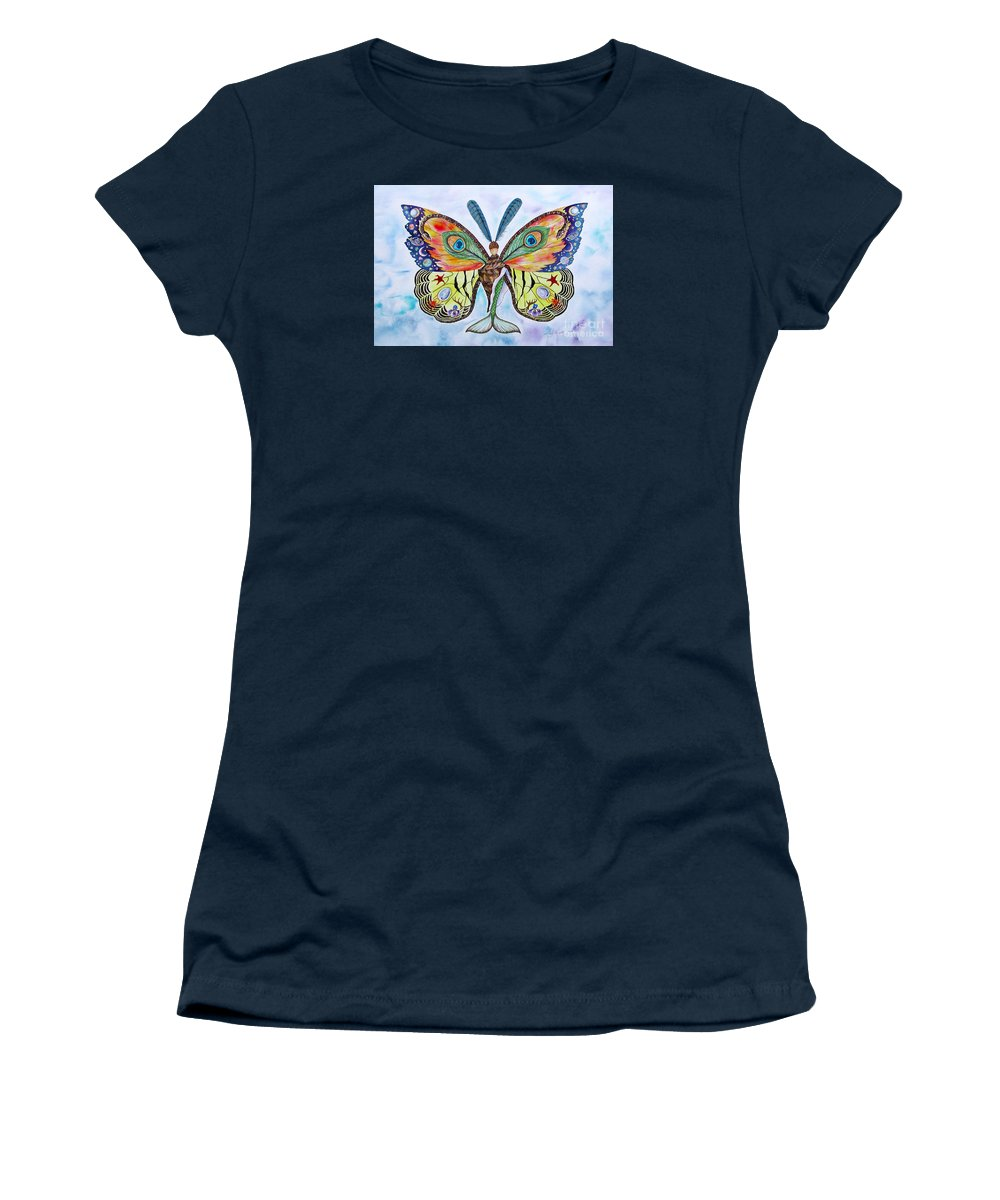 Butterfly Women's T-Shirt featuring the painting Winged Metamorphosis by Lucy Arnold