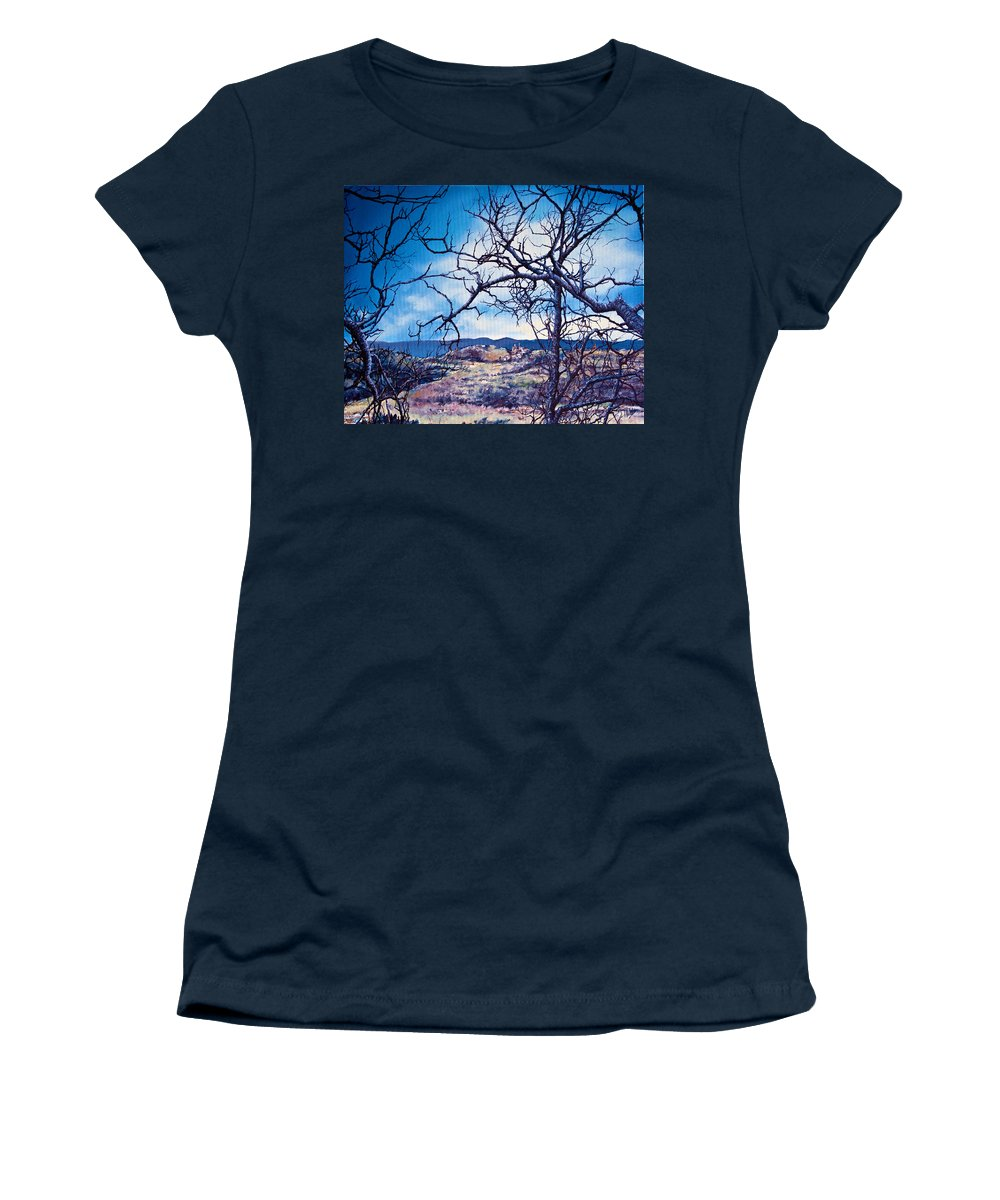 Skies Women's T-Shirt featuring the painting Winter Branches by Michel Angelo Rossi