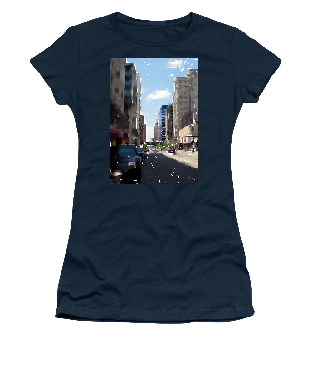 Milwaukee Women's T-Shirt (Athletic Fit) featuring the digital art Wisconsin Ave 2 by Anita Burgermeister