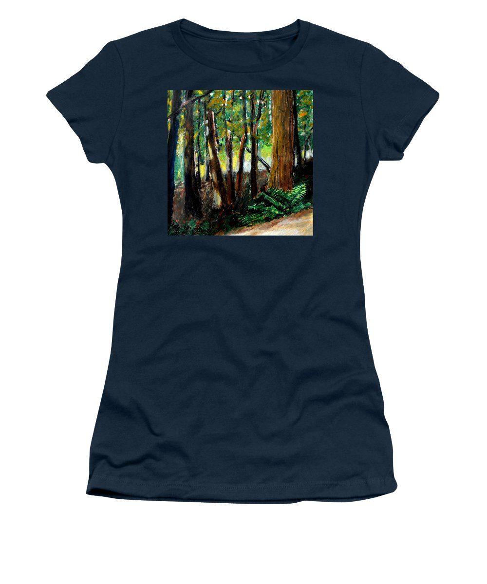 Livingston Trail Women's T-Shirt (Athletic Fit) featuring the drawing Woodland Trail by Michelle Calkins
