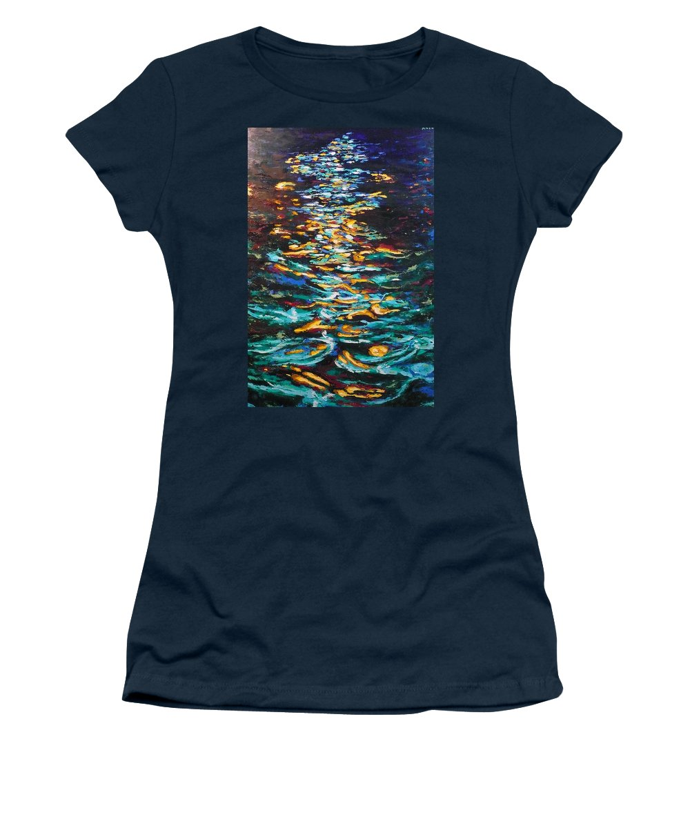 Landscape Women's T-Shirt featuring the painting Yellow Light On Dark Water by Ericka Herazo