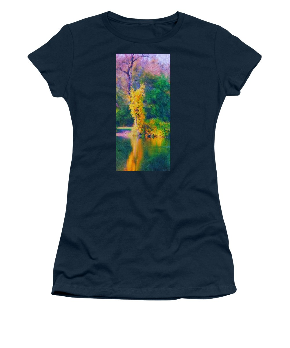Digital Landscape Women's T-Shirt (Athletic Fit) featuring the digital art Yellow Reflections by David Lane