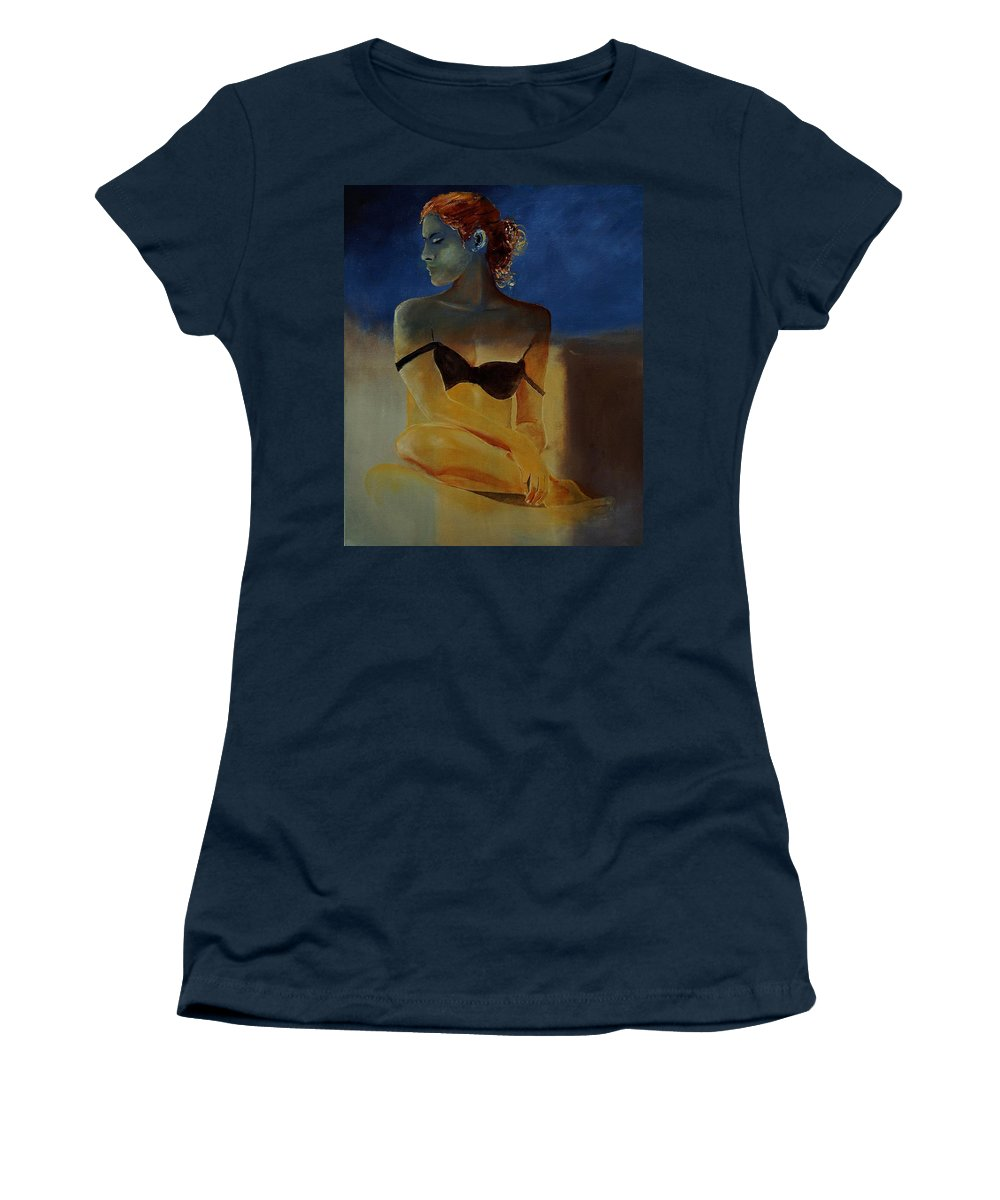 Gir Women's T-Shirt featuring the painting Young Girl 56902140 by Pol Ledent