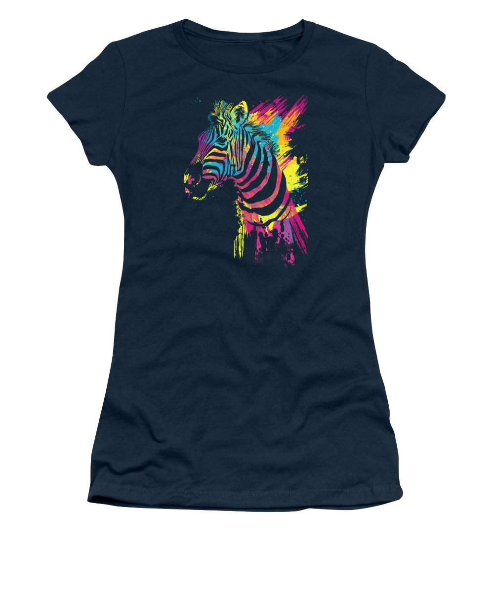Zebra Women's T-Shirt featuring the digital art Zebra Splatters by Olga Shvartsur