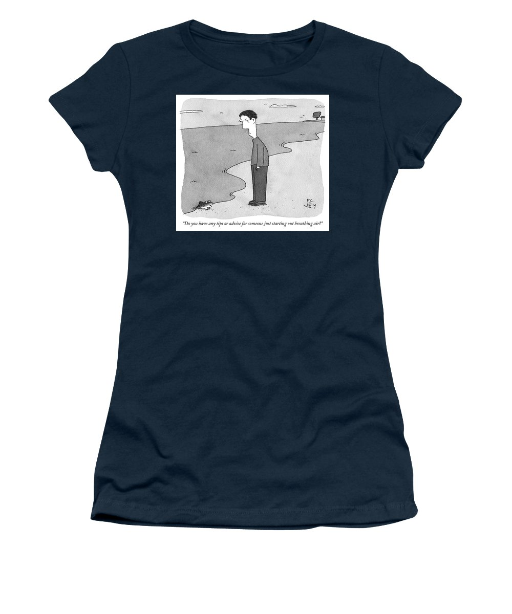 """""""do You Have Any Tips Or Advice For Someone Just Starting Out Breathing Air?"""" Fish Women's T-Shirt featuring the drawing Do You Have Any Tips Or Advice by Peter C Vey"""
