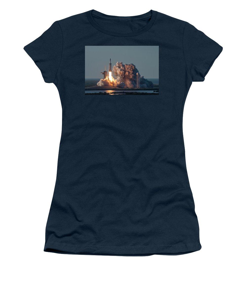 Falcon Women's T-Shirt featuring the digital art Falcon Heavy Arabsat Launch by Filip Schpindel