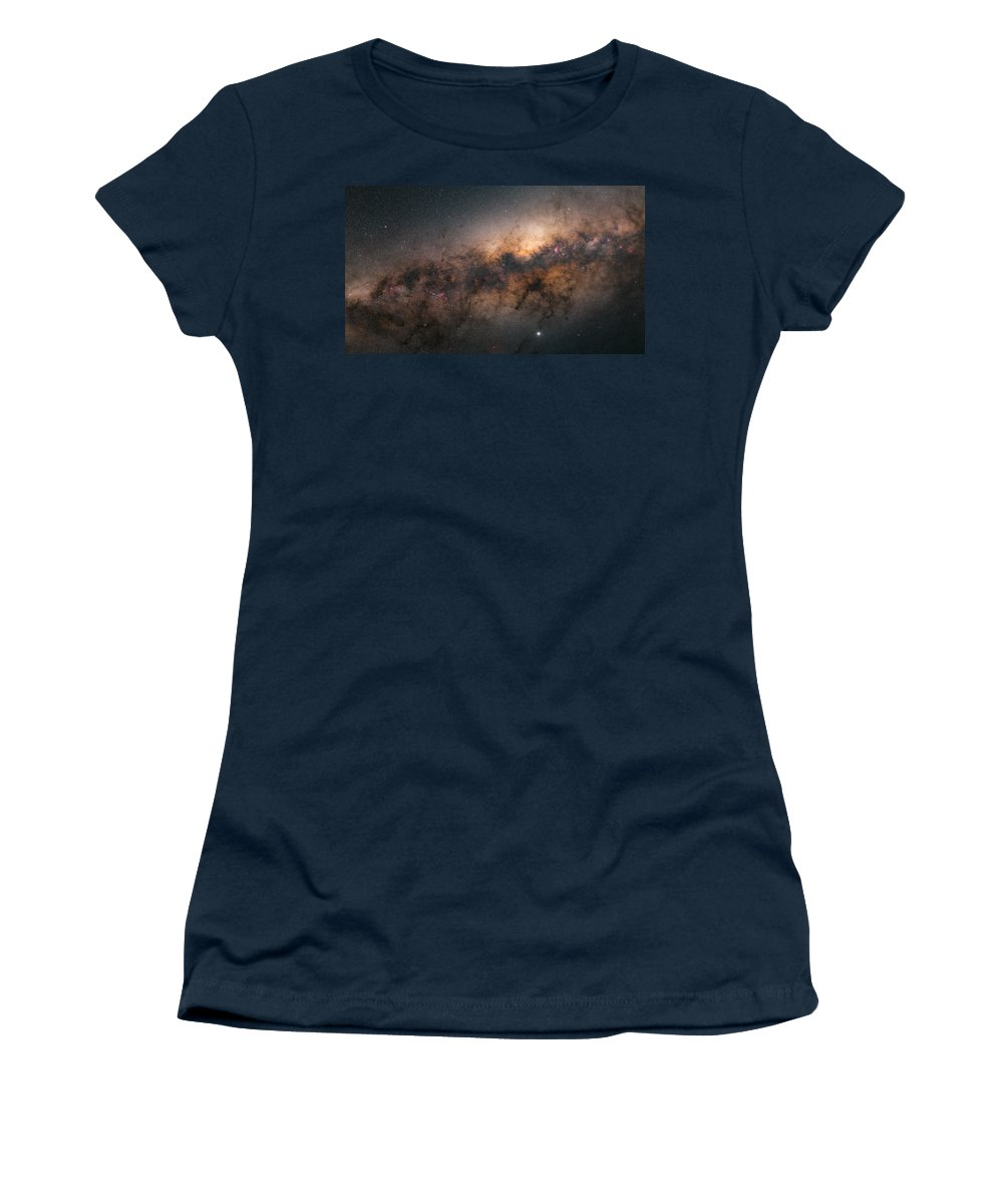 Stars Women's T-Shirt featuring the photograph Galactic Core by Bartosz Wojczynski