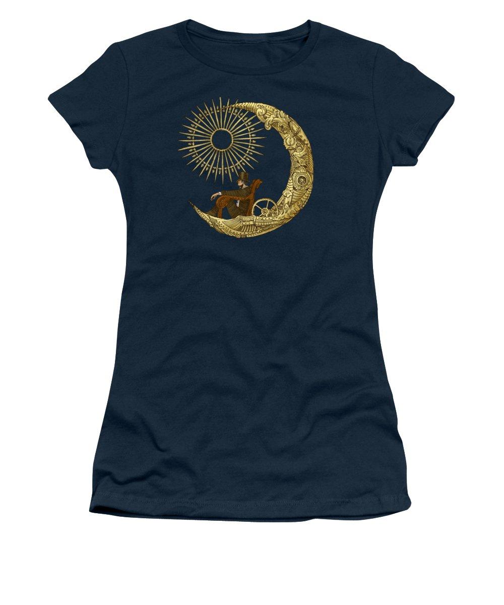 Blue Women's T-Shirt featuring the digital art Moon Travel by Eric Fan