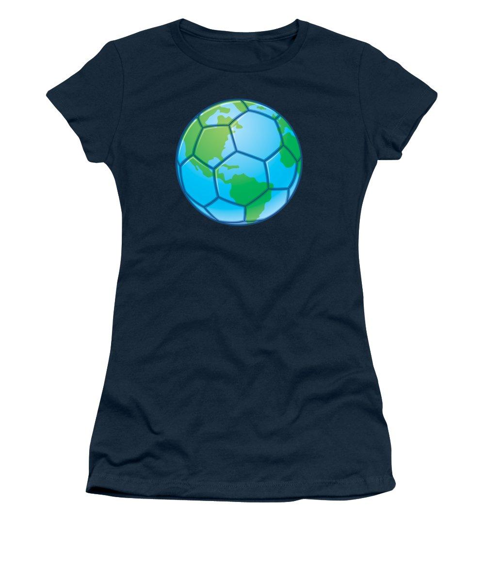 Vector Women's T-Shirt featuring the digital art Planet Earth World Cup Soccer Ball by John Schwegel