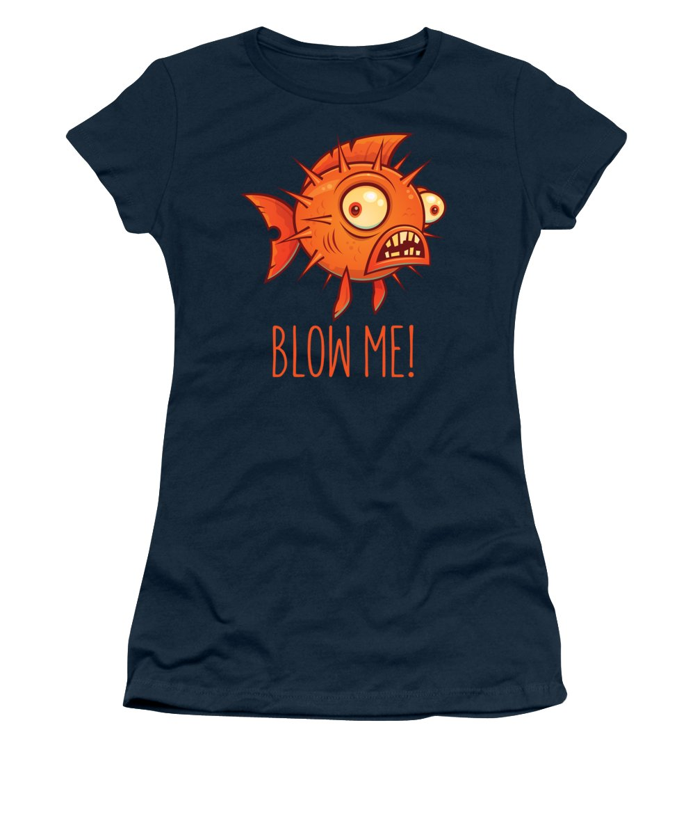 Pufferfish Women's T-Shirt featuring the digital art Porcupine Blowfish Cartoon - Blow Me by John Schwegel