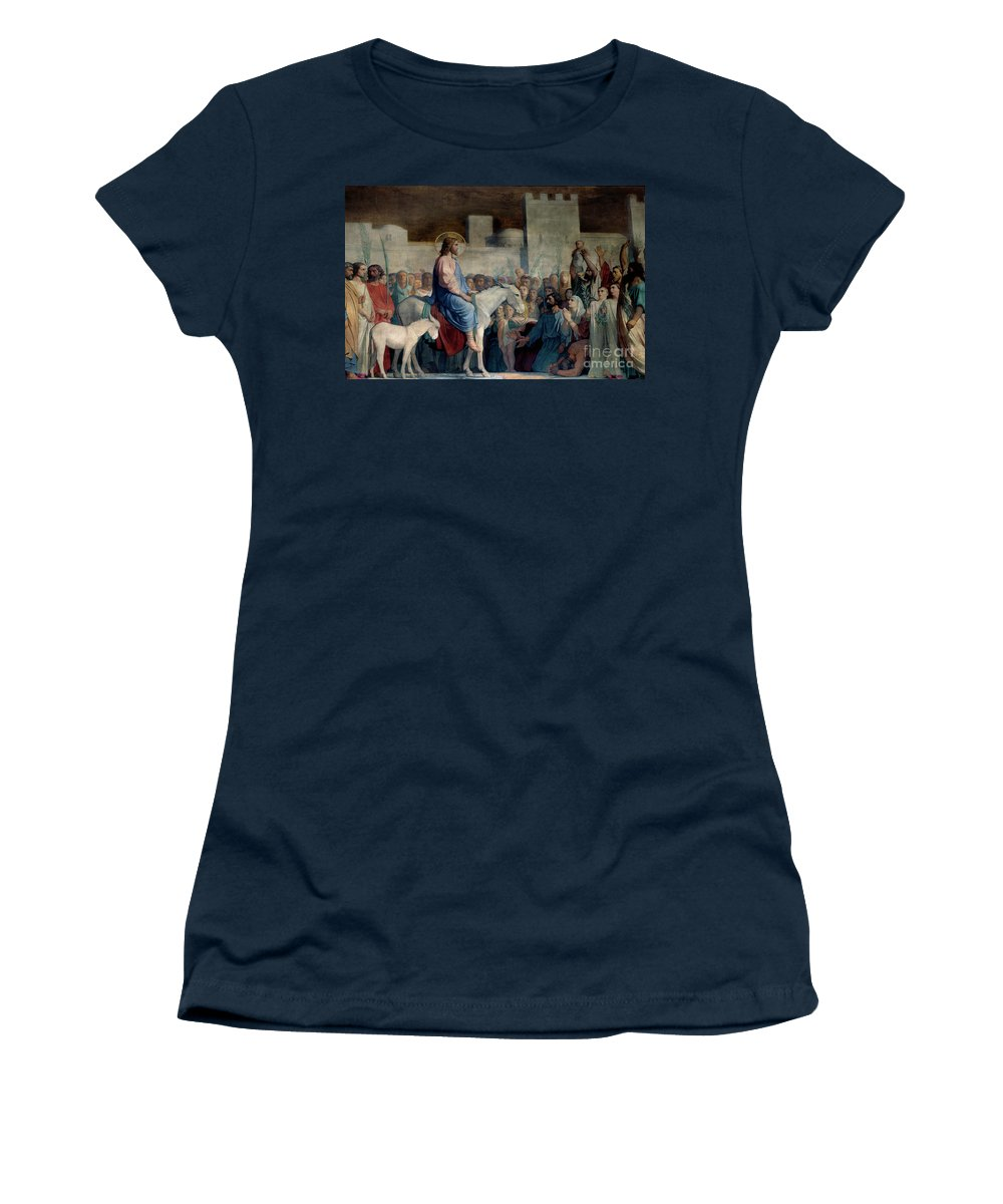 Christian Women's T-Shirt featuring the painting The Entrance Of Christ To Jerusalem On Palm Sunday by Hypolithe Flandrin