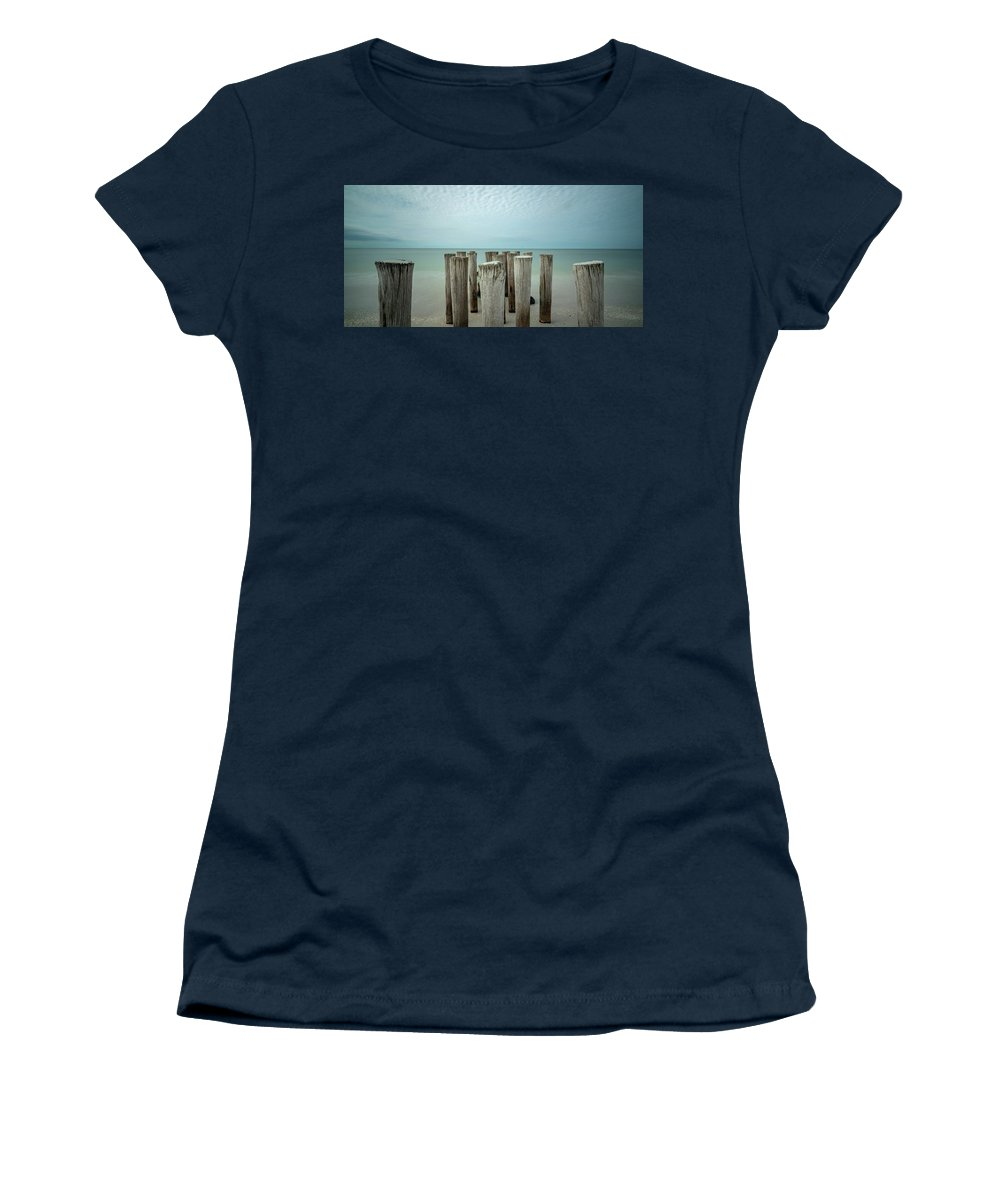 Naples Florida 2021 Women's T-Shirt featuring the photograph Naples Pilings 2021 by Joey Waves