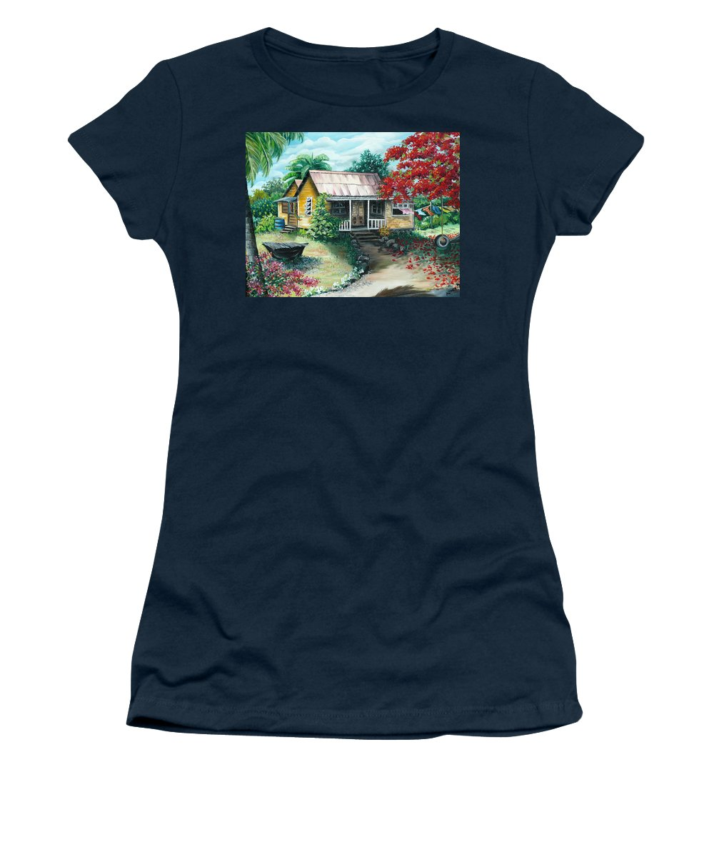 Landscape Painting Caribbean Painting Tropical Painting Island House Painting Poinciana Flamboyant Tree Painting Trinidad And Tobago Painting Women's T-Shirt featuring the painting Trinidad Life by Karin Dawn Kelshall- Best