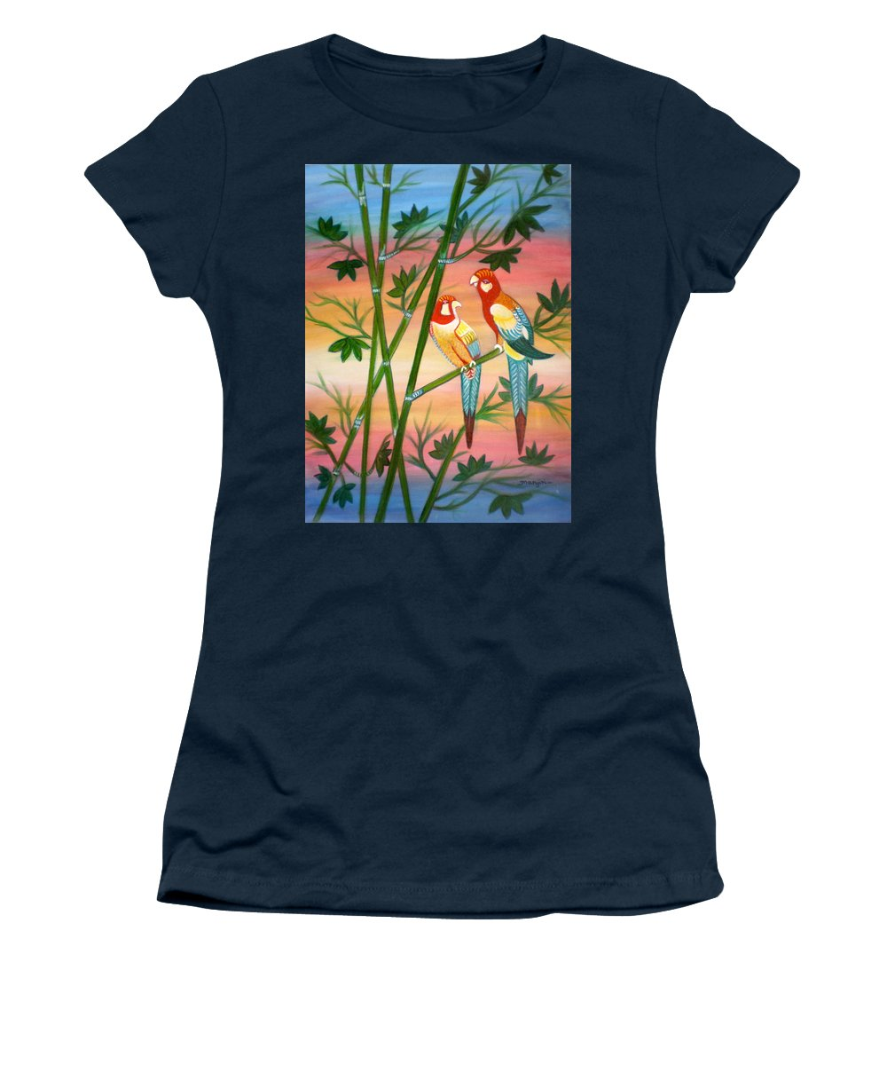 Acrylic Women's T-Shirt featuring the painting Birds in Paradise by Manjiri Kanvinde