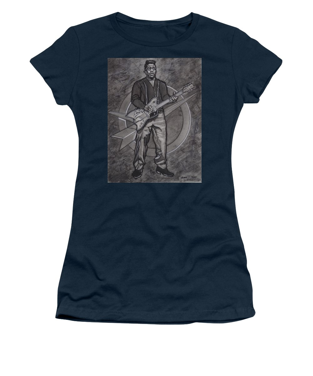 Texas Women's T-Shirt featuring the drawing Bo Diddley - Have Guitar Will Travel by Sean Connolly