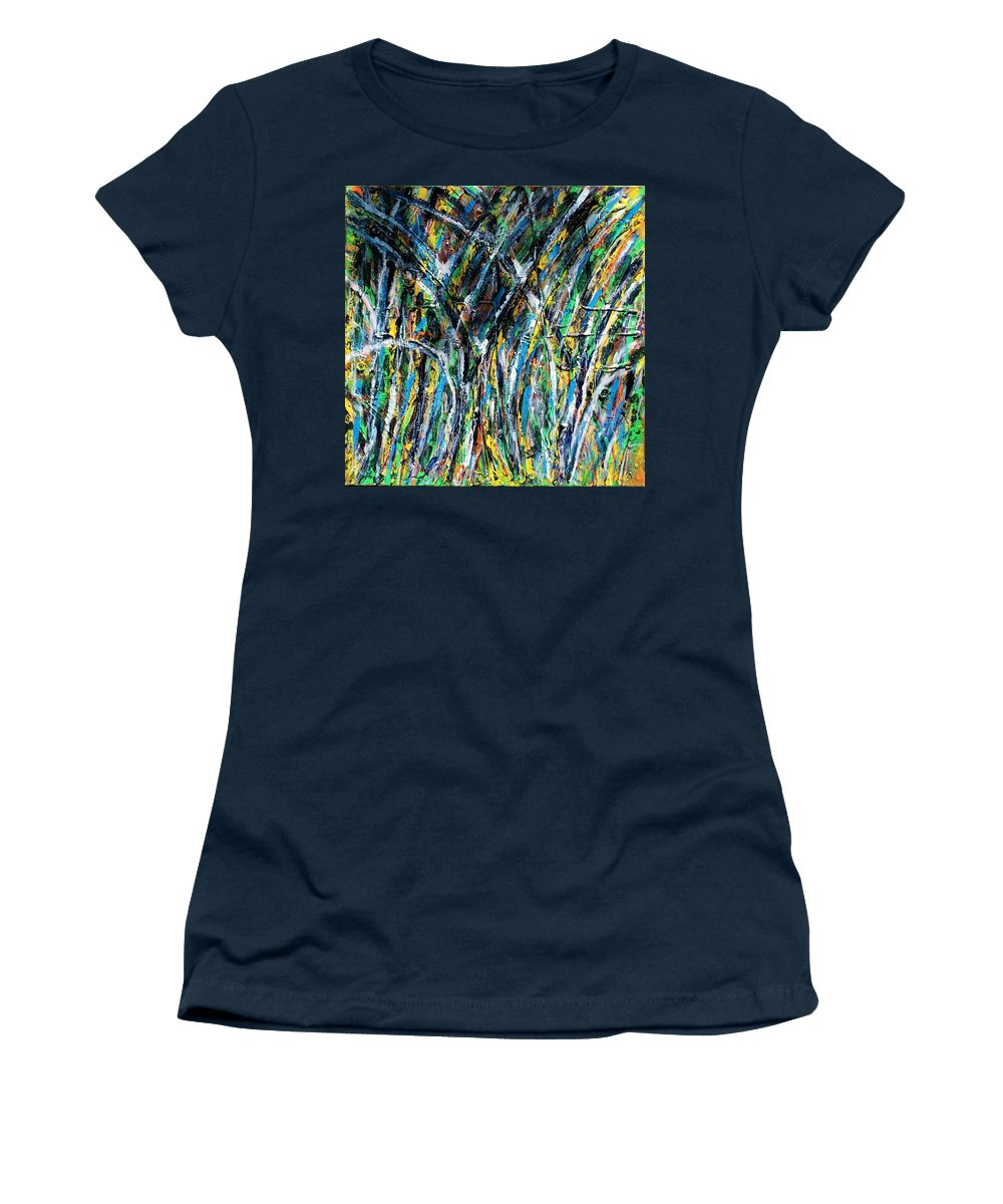 Blue Women's T-Shirt featuring the painting Bright Summer Day by Pam Roth O'Mara