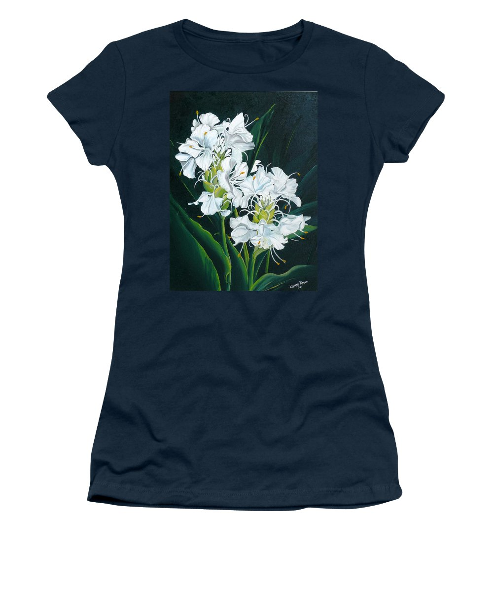 Caribbean Painting Butterfly Ginger Painting Floral Painting Botanical Painting Flower Painting Water Ginger Painting Or Water Ginger Tropical Lily Painting Original Oil Painting Trinidad And  Tobago Painting Tropical Painting Lily Painting White Flower Painting Women's T-Shirt featuring the painting Butterfly Ginger by Karin Dawn Kelshall- Best