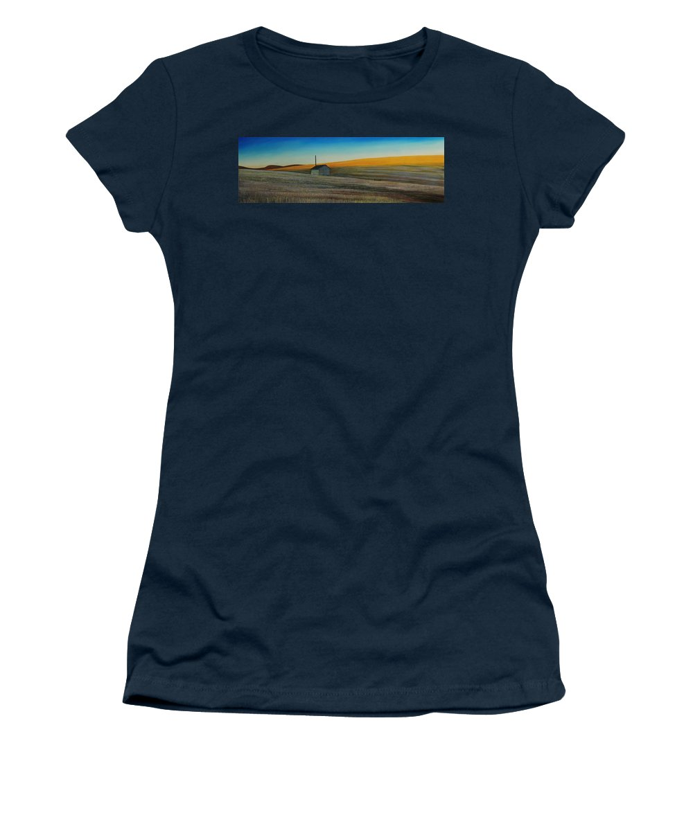 Wheat Women's T-Shirt featuring the painting Cold Field at Dusk by Leonard Heid