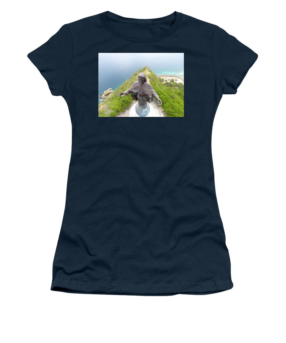 Adventure Women's T-Shirt featuring the photograph Cristo Rei of Dili statue of Jesus by Brthrjhn2099