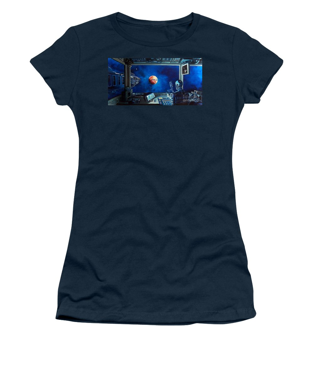Fantasy Women's T-Shirt featuring the painting Crying Robot by Murphy Elliott