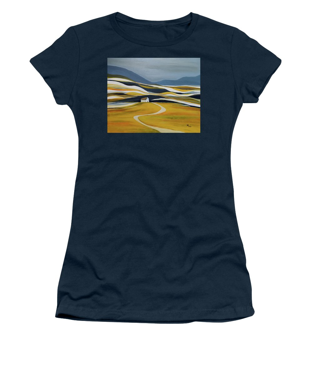 Landscape Women's T-Shirt featuring the painting Far Away From the Crowd by Aniko Hencz